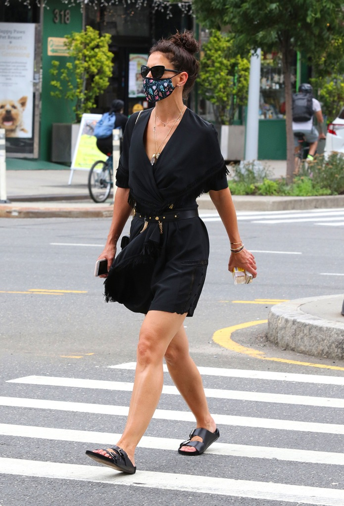 Katie Holmes, face mask, cat-eye sunglasses, pendant necklace, black minidress, little black dress, legs, ugly sandals, looks sexy in an all black ensemble as she makes heads turn while out shopping in Downtown Manhattan. 15 Jul 2020 Pictured: Katie Holmes. Photo credit: LRNYC / MEGA TheMegaAgency.com +1 888 505 6342 (Mega Agency TagID: MEGA688780_013.jpg) [Photo via Mega Agency]