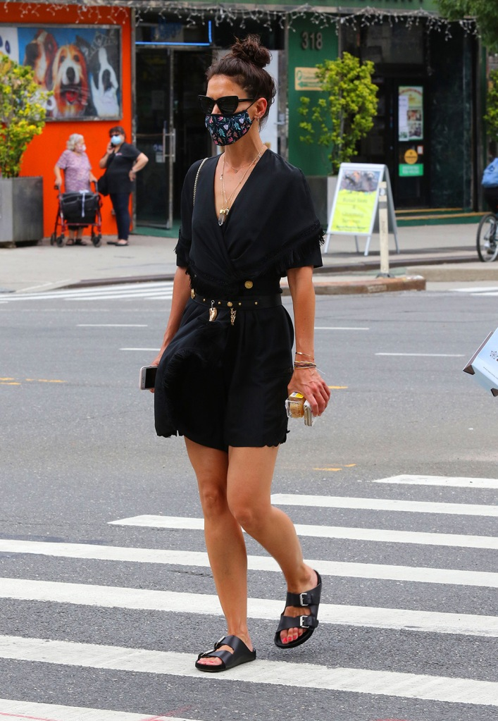 Katie Holmes, black minidress, little black dress, legs, ugly sandals, looks sexy in an all black ensemble as she makes heads turn while out shopping in Downtown Manhattan. 15 Jul 2020 Pictured: Katie Holmes. Photo credit: LRNYC / MEGA TheMegaAgency.com +1 888 505 6342 (Mega Agency TagID: MEGA688780_013.jpg) [Photo via Mega Agency]Katie Holmes looks sexy in an all black ensemble as she makes heads turn while out shopping in Downtown Manhattan. 15 Jul 2020 Pictured: Katie Holmes. Photo credit: LRNYC / MEGA TheMegaAgency.com +1 888 505 6342 (Mega Agency TagID: MEGA688780_017.jpg) [Photo via Mega Agency]