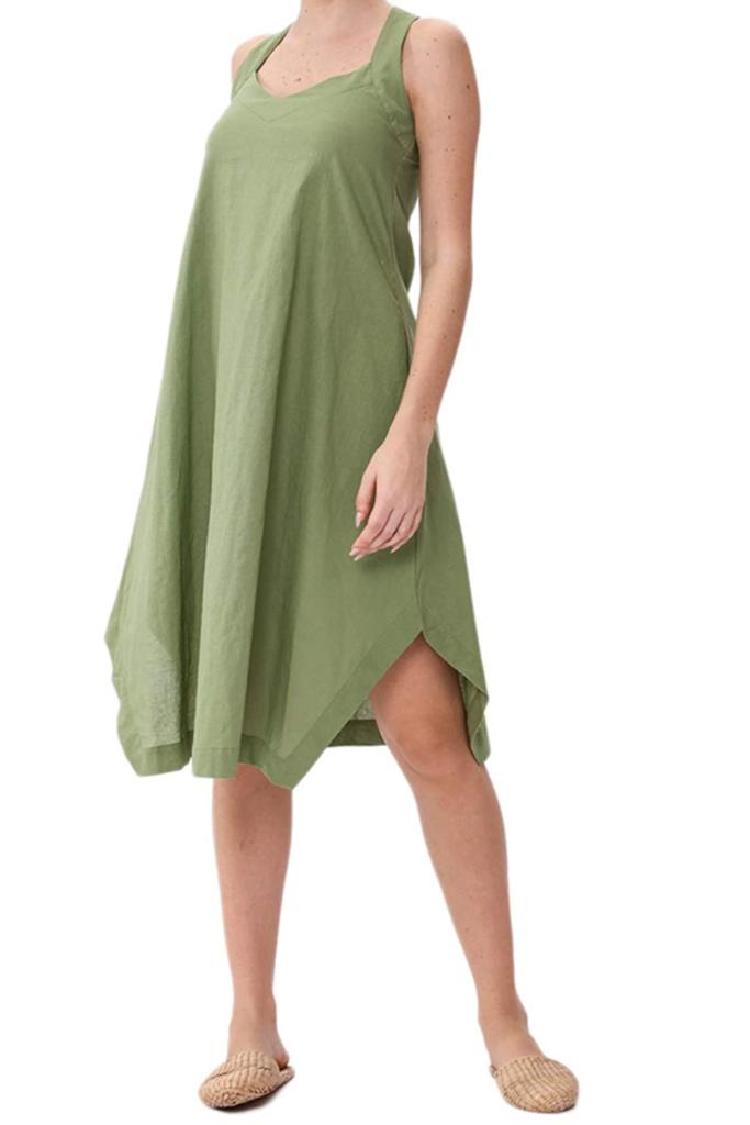 amazon linen dress, linen dress, green dress