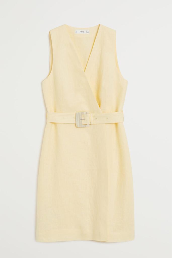mango linen dress, linen dress, yellow dress