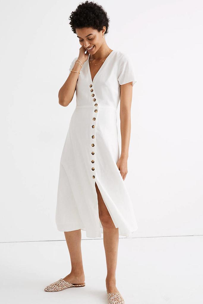 best linen dress, madewell dress, white dress