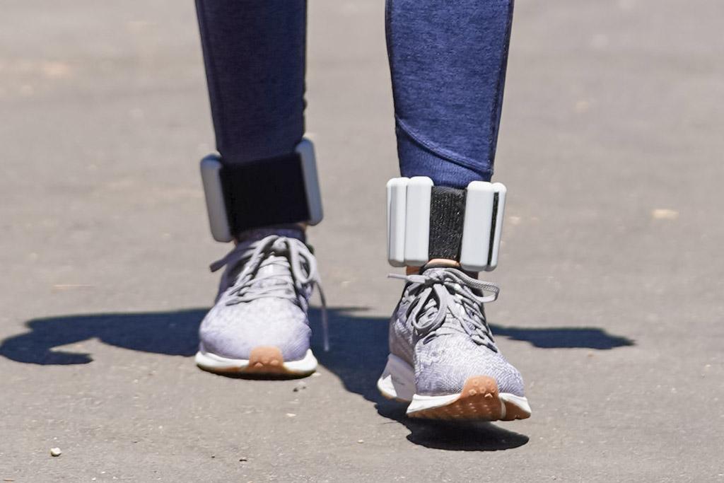 lucy hale, sneakers, walk, adidas, leggings, crop top, mask, ankle weights