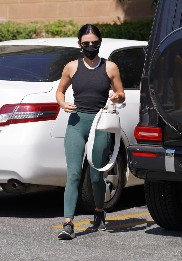 Lucy Hale, teal leggings, tank top, adidas edge lux 3, street style, adidas sneakers, Lucy Hale out and about, Los Angeles, USA - 13 Jul 2020Lucy HaleLucy Hale out and about, Los Angeles, USA - 13 Jul 2020
