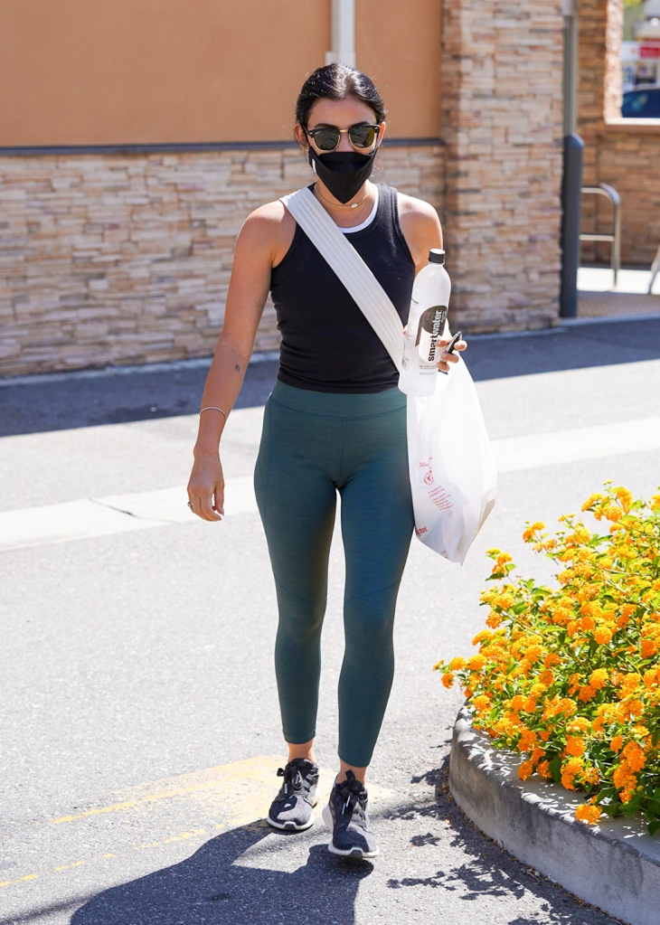 Lucy Hale, teal leggings, tank top, adidas edge lux 3, street style, adidas sneakers, Lucy Hale out and about, Los Angeles, USA - 13 Jul 2020