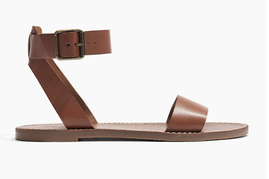 madewell sadals, best shoes to style with nap dress trend, brown sandals