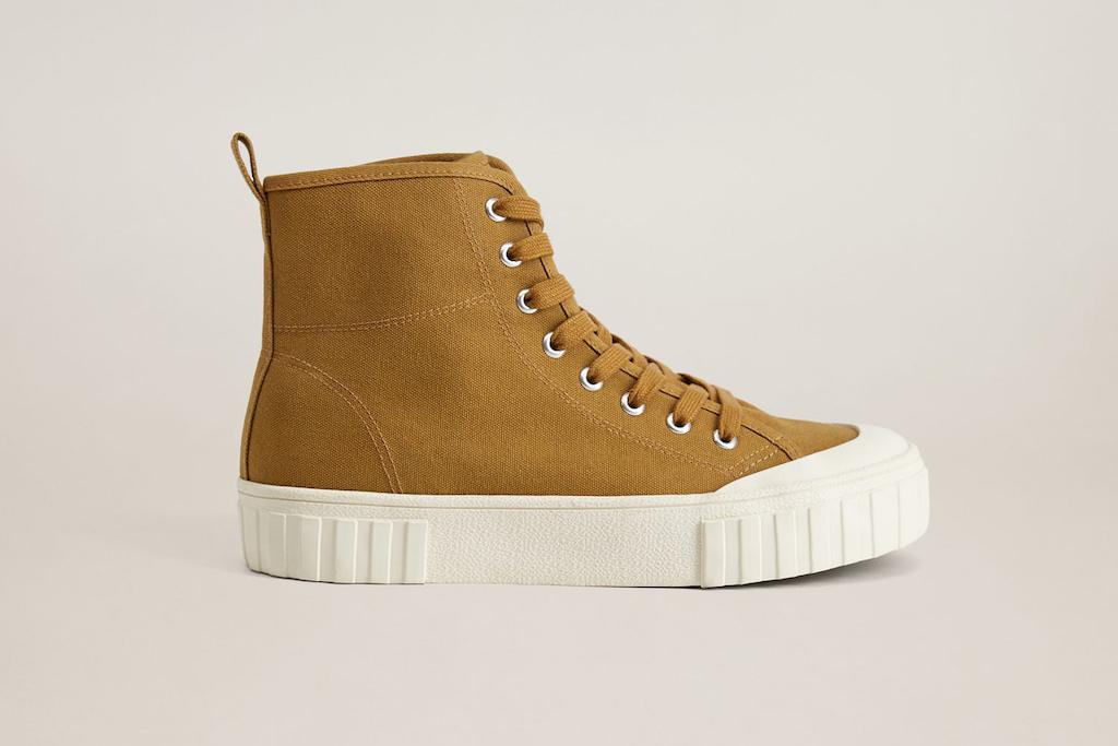 mango shoe sale, mango canvas sneaker, brown sneaker