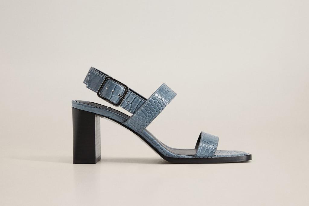 mangos shoe sale, blue sandal, moc croc sandal