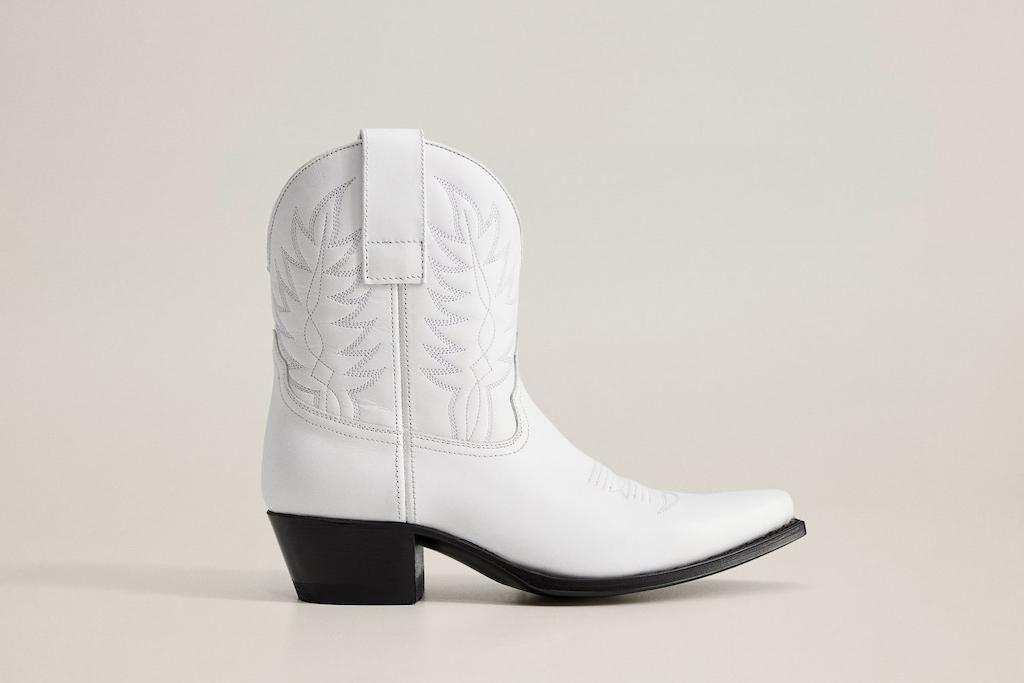 mango shoe sale, white cowboy boots, mango boots