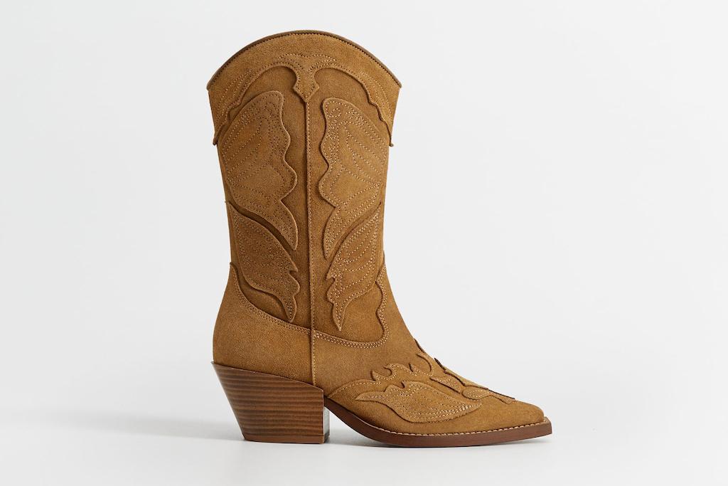 mango shoe sale, mango cowboy boots, brown boots