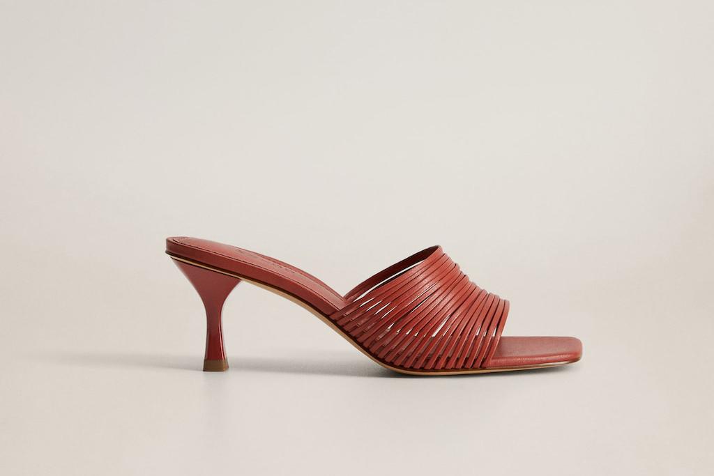 mango shoe sale, mango heels, red mules