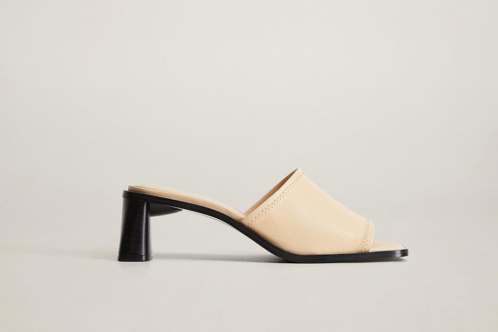 mango shoe sale, heel leather mules, white heels