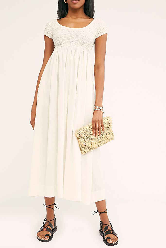 nap dress trend, free people dress, white smock dress