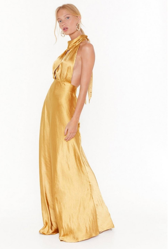 nasty gal, dress, gold