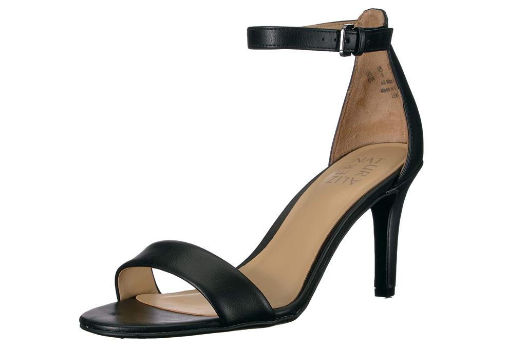 naturalizer, black sandals, strap, heeled