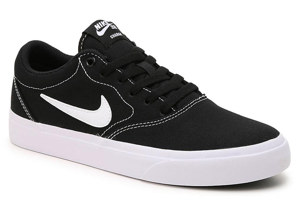 nike, charge, sneaker, black, white, skate