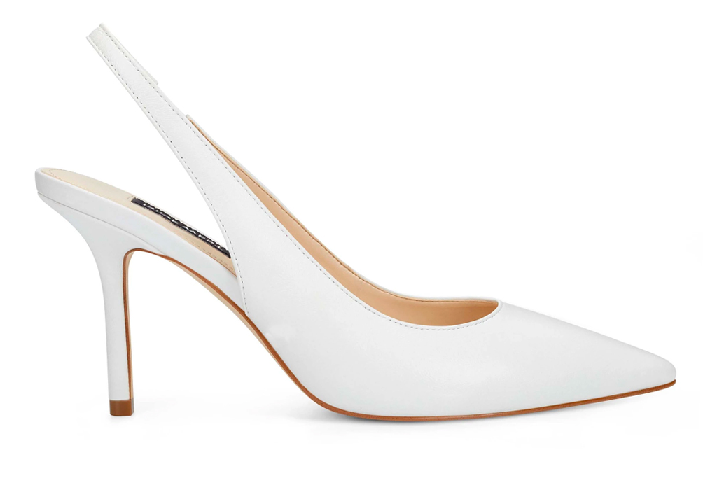 pumps, nine west, white, slingback