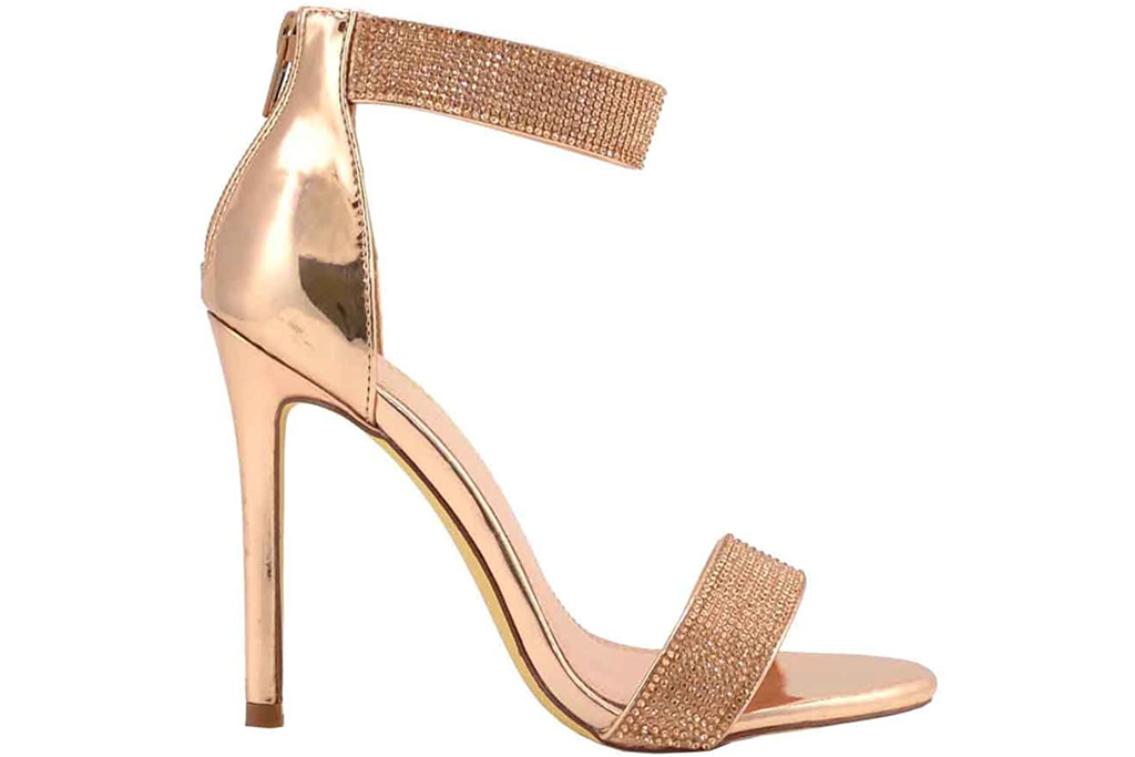 Olivia Jaymes, gold sandals, stilettos