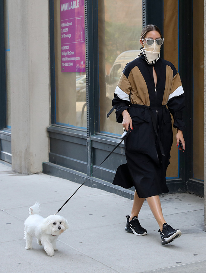 Olivia Palermo pictured taking her dog 'Mr Butler' out for a walk in Downtown, Brooklyn.Pictured: Olivia PalermoRef: SPL5177412 170720 NON-EXCLUSIVEPicture by: Jose Perez / SplashNews.comSplash News and PicturesUSA: +1 310-525-5808London: +44 (0)20 8126 1009Berlin: +49 175 3764 166photodesk@splashnews.comWorld Rights