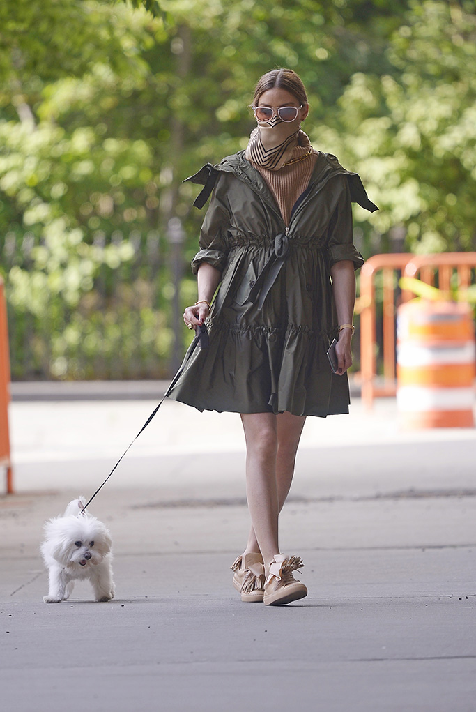 Olivia Palermo walks her dog Mr. Butler wearing a pleated summer dress and brown taselled shoes amidst the Corona Virus epidemic in New York CityPictured: Olivia Palermo Ref: SPL5167633 190520 NON-EXCLUSIVE Picture by: SplashNews.com Splash News and Pictures USA: +1 310-525-5808 London: +44 (0)20 8126 1009 Berlin: +49 175 3764 166 photodesk@splashnews.com World Rights