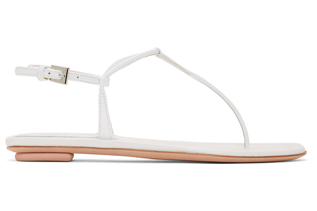 prada, white, t-shirt, sandals, t-strap, thong