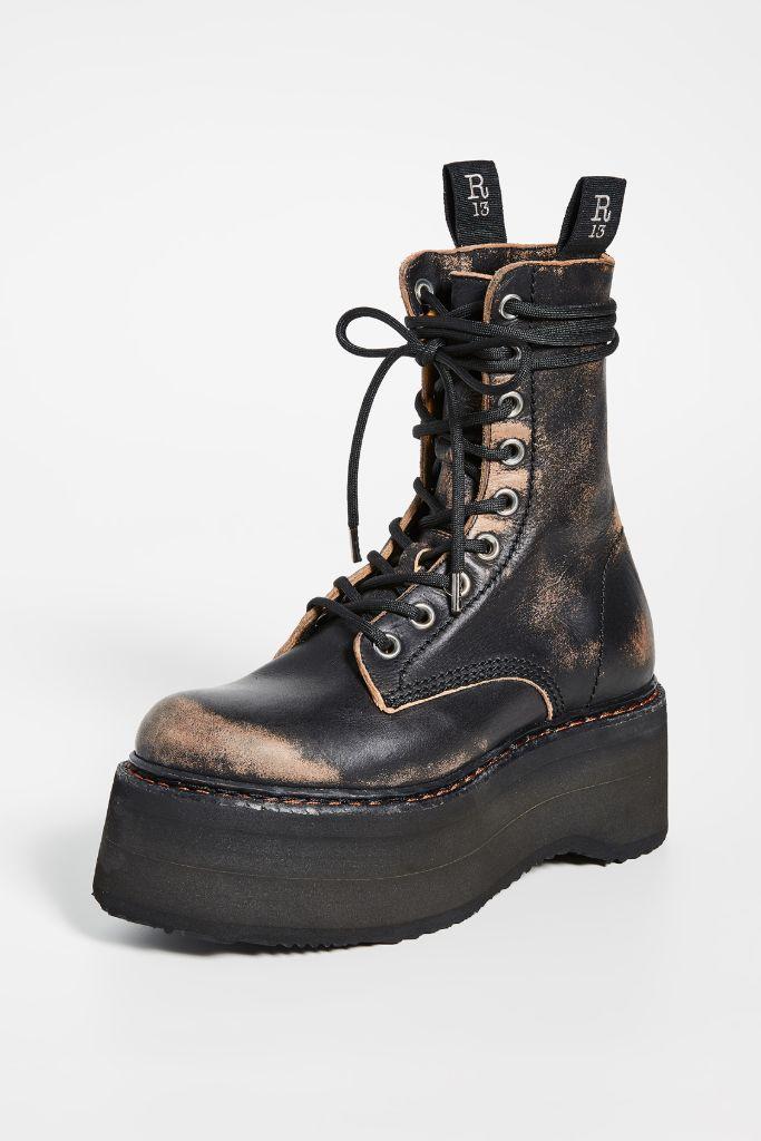 r13 boots, platform boots, combat boots, r13, diane keaton style, diane keaton, diane keaton instagram