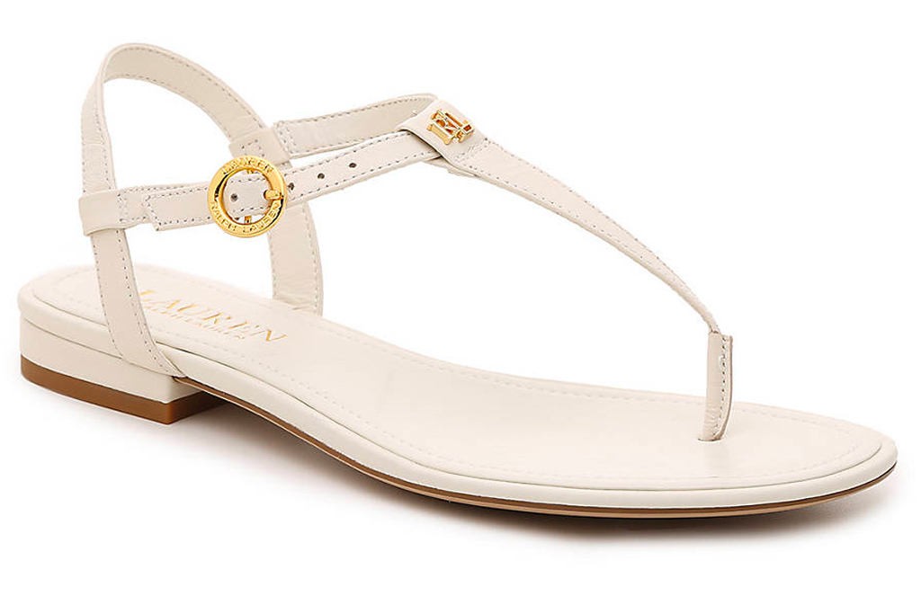 ralph lauren, sandals, thong,white