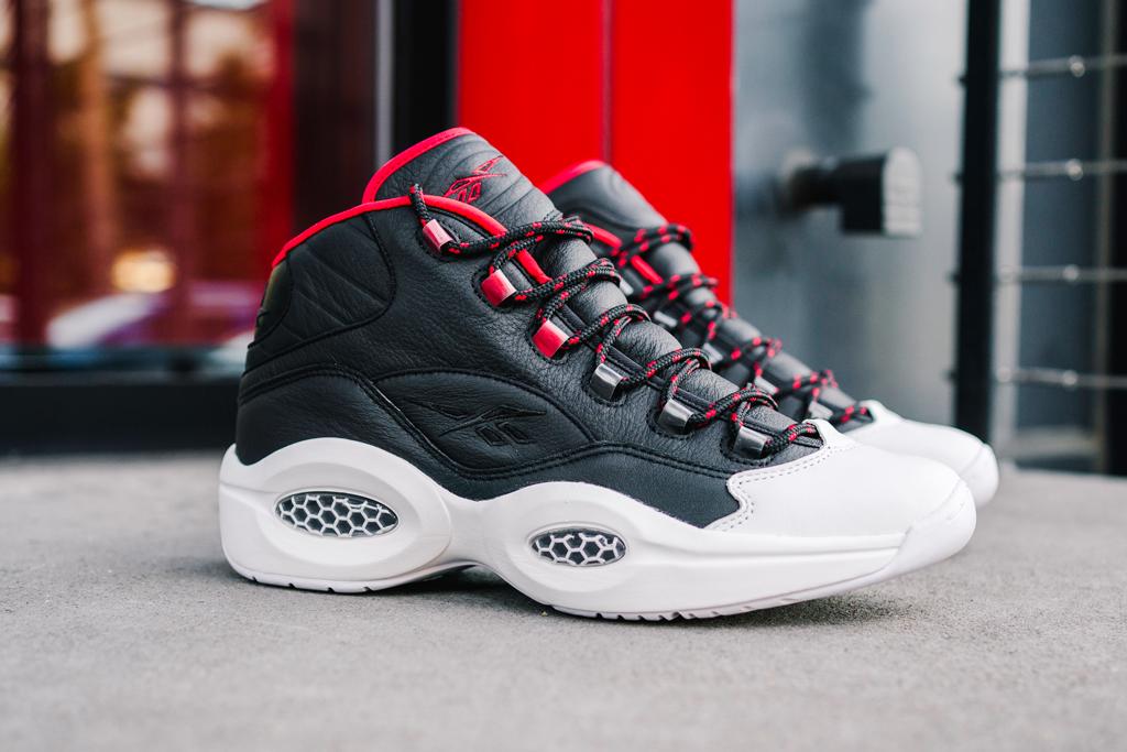 reebok, james harden, allen iverson, question mid, og meets og, red, black, white, sneakers, adidas