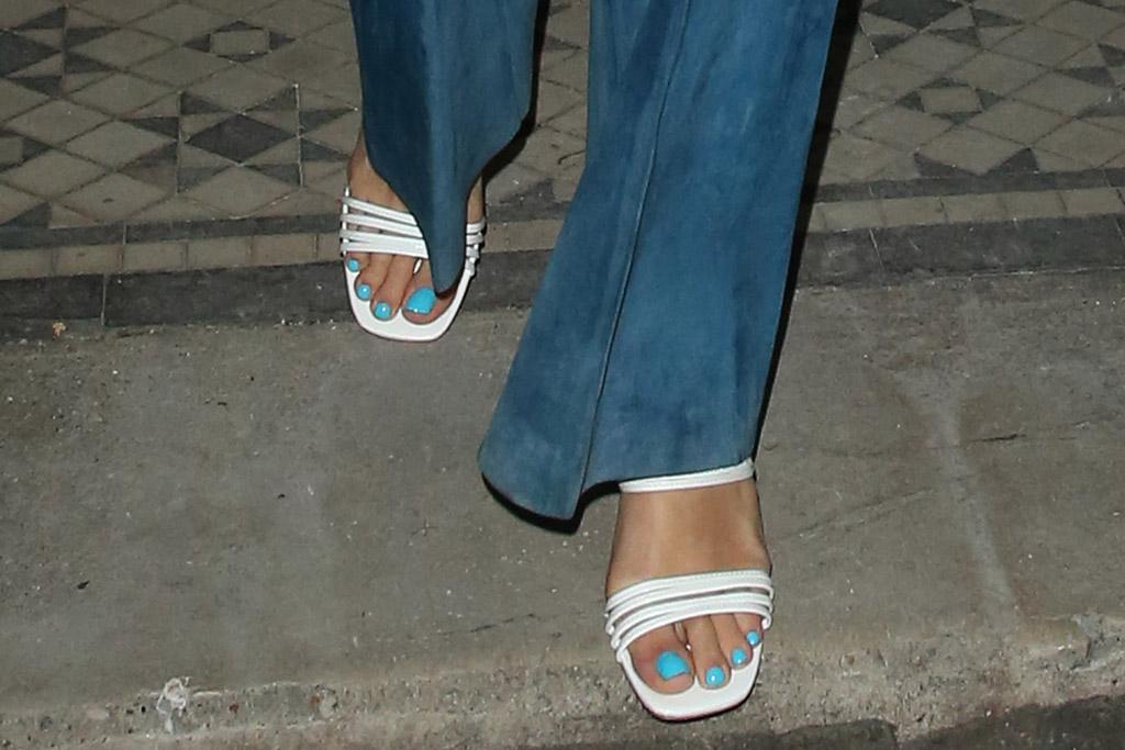 rita ora, zebra shirt, singer, blue pants, white sandals, sandals, style, london