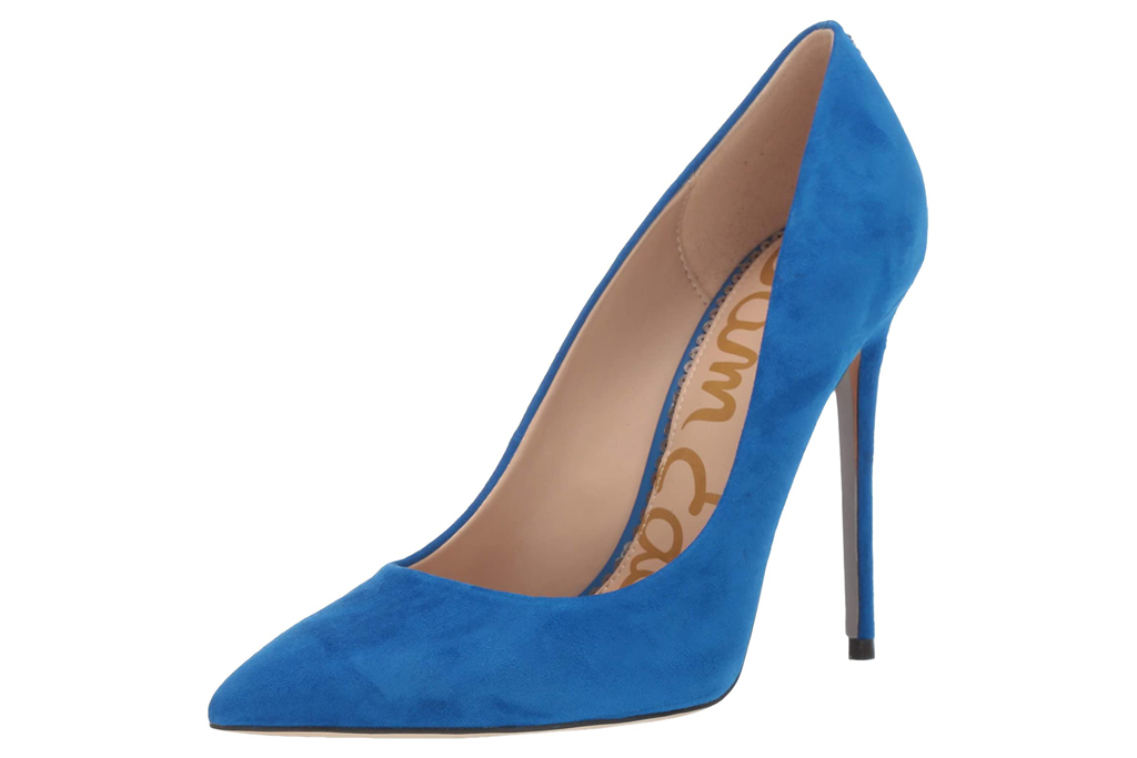 sam edelman, blue pumps, suede