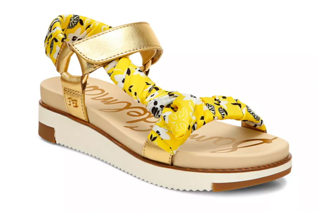 sam edelman, sandals, yellow, white, platfrom