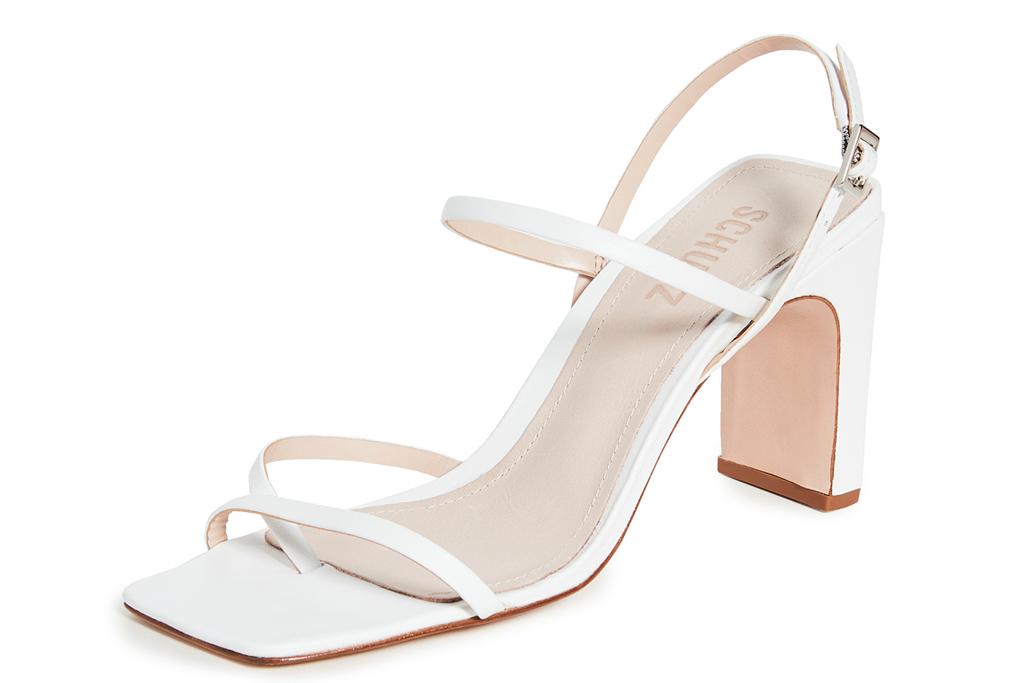white sandals, square toe, strappy