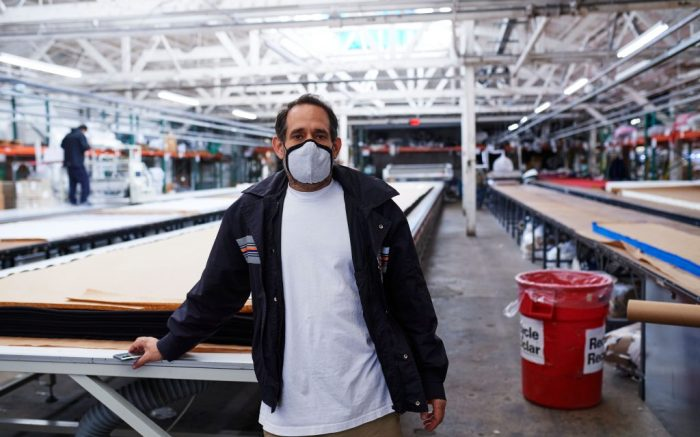 Dov Charney, founder of Los Angeles Apparel, poses for a portrait while wearing a mask because of COVID-19 at the Los Angeles Apparel factory in Los Angeles, California on April 2, 2020.Los Angeles Apparel's response to COVID-19, USA - 02 Apr 2020