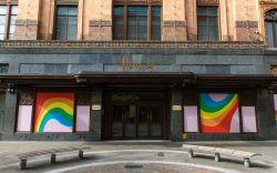 locked down Harrods showing Rainbow hoardings