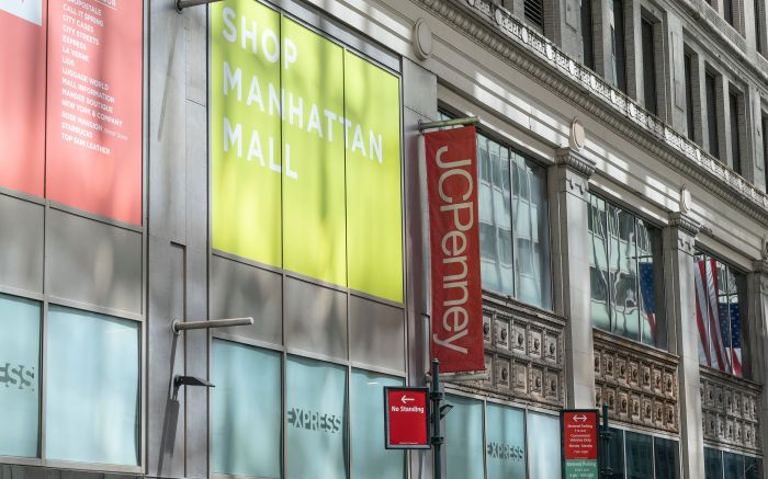 General view of JCPenney Department store part of Manhattan Mall closed during COVID-19 pandemic on 6th Avenue. With tens of thousands of stores temporarily shut across the USA, economic shutdown and lingering social distancing behaviors many economists believe of broad shakeout of retail and hotel industries.Retail stores and hotels in distress amid COVID-19, New York, USA - 13 May 2020