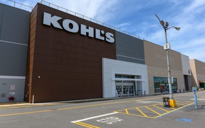 Parking spots remain empty outside of a closed Kohl's department store in Brookyln during the coronavirus pandemicCoronavirus outbreak, New York, USA - 16 May 2020