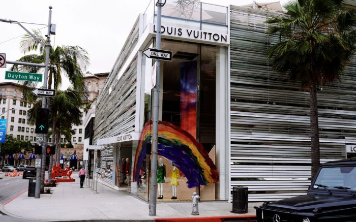 The Louis Vuitton Store Front on Rodeo Drive in Beverly Hills, CaliforniaLouis Vuitton celebrates Pride Month, Los Angeles, USA - 16 Jun 2020