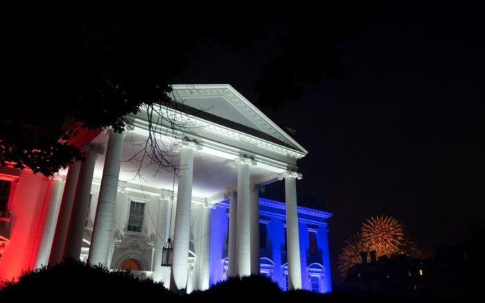 Fireworks are set off behind the White House, which is lit up in red, white, and blue, following the Fourth of July 'Salute to America' event in Washington, D.C., USA, 04 July 2020. Trump pushed forward with his planned Fourth of July celebration, even as many officials urged the public to stay home and avoid gathering in large crowds due to the ongoing Coronavirus pandemic.The 2020 Salute to America celebration at the White House, Washington, USA - 04 Jul 2020