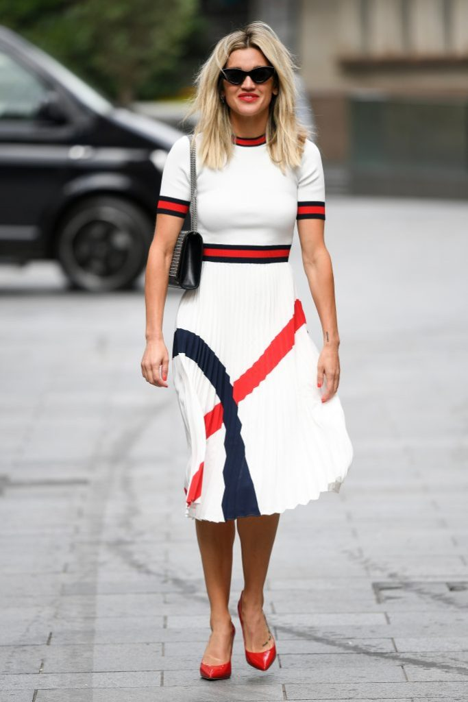 Ashley Roberts, ted baker dress, celebrity style, red pumps, Ashley Roberts out and about, London, UK - 06 July 2020Wearing Ted Baker, High-street Brand