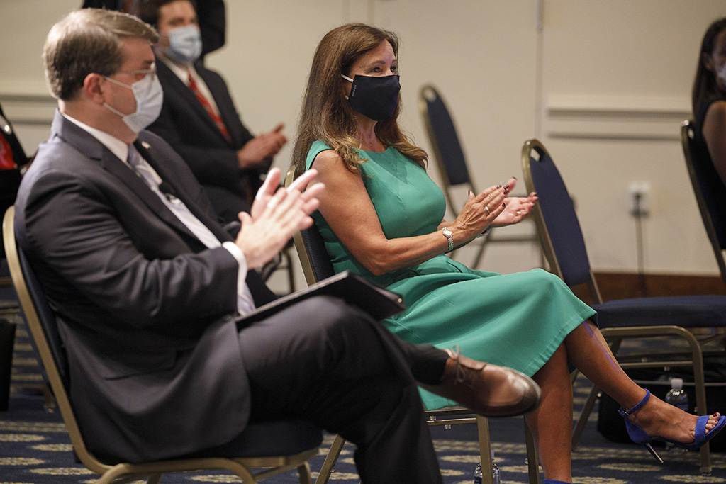 Secretary of Veterans Affairs Richard Wilkie, left, and second lady Karen Pence, wearing protective masks against COVID-19, applaud as they attend an event on a campaign to raise awareness on the risks of veterans suicide, at the National Press Club in WashingtonVeterans Suicides Prevention, Washington, United States - 07 Jul 2020