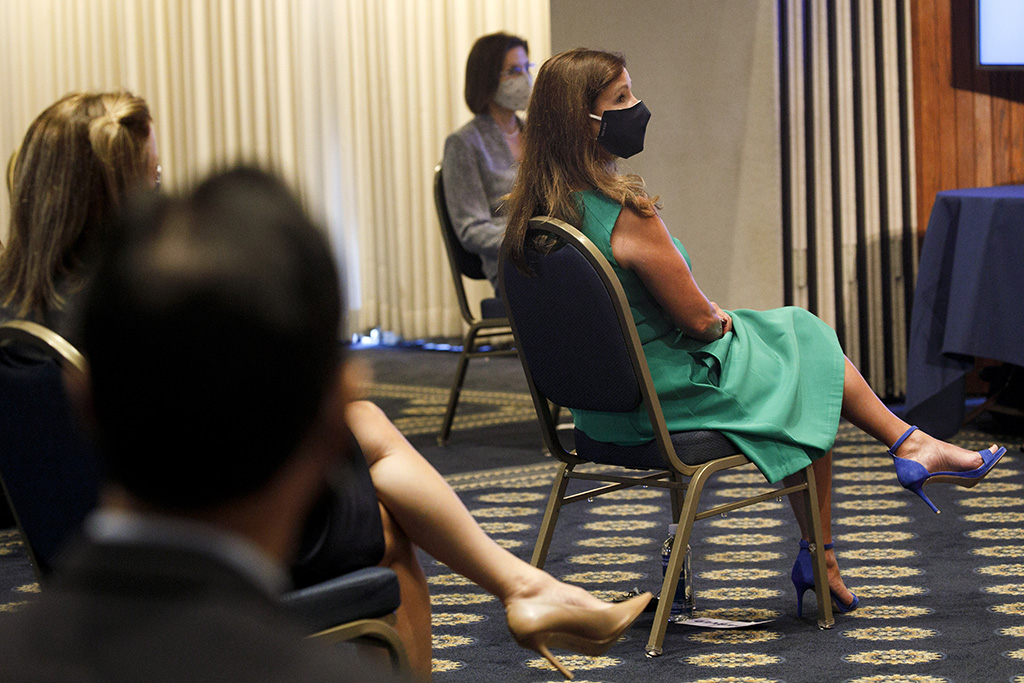 Second lady, Karen Pence, teal dress, indigo, sandals, wears a protective mask against COVID-19 as she attends an event about a campaign to raise awareness on the risks of veterans suicide, at the National Press Club in WashingtonVeterans Suicides Prevention, Washington, United States - 07 Jul 2020
