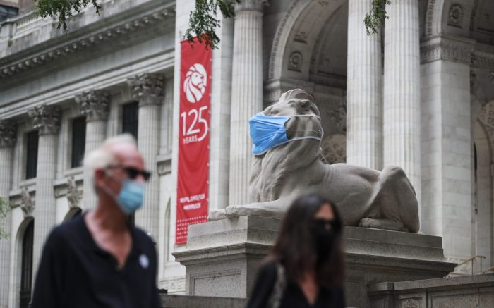 "The marble lion ""Fortitude"" is seen with a face mask in front of the New York Pubulic Library on the Fifth Avenue in New York, the United States, July 8, 2020. The number of COVID-19 cases in the United States surpassed the 3 million mark Wednesday to reach 3,009,611 as of 11:34 a.m. local time (1534 GMT), according to the Center for Systems Science and Engineering (CSSE) at Johns Hopkins University.u.s. New York Covid 19 Cases Three Million - 08 Jul 2020"