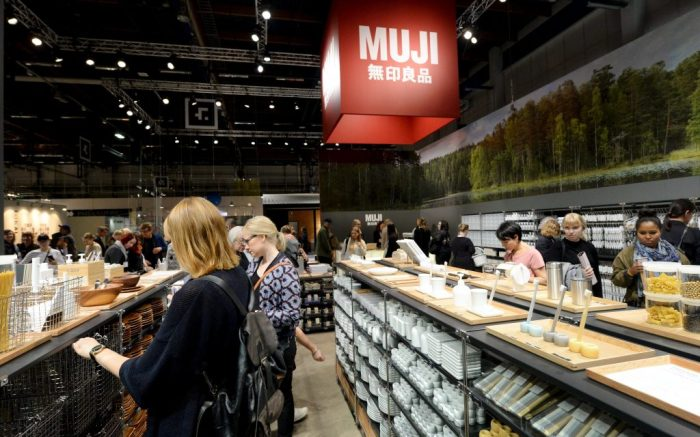 The section of the Japanese retail company Muji (Mujirushi Ryohin) at the interior, design and furniture fair Habitare in Helsinki, 13th of Sept. 2017.Muji Store in Helsinki, Finland - 13 Sep 2017