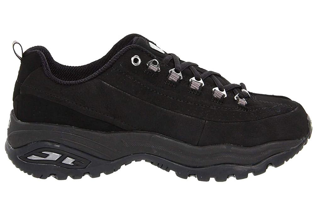 skechers, black sneakers