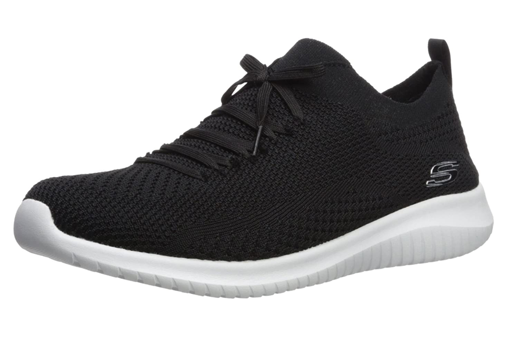 skechers, black, white, sneakers