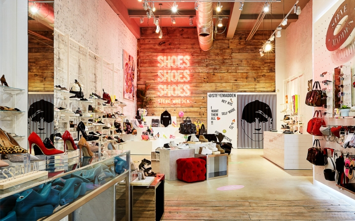 Steve Madden NYC Store - Modern retail stores, like Steve Madden's 34th Street store in New York, are frequently spacious by design.