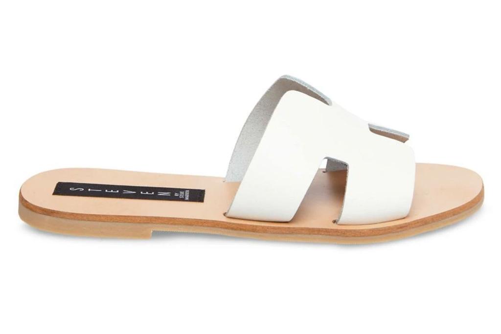steve madden, sandals, white brown