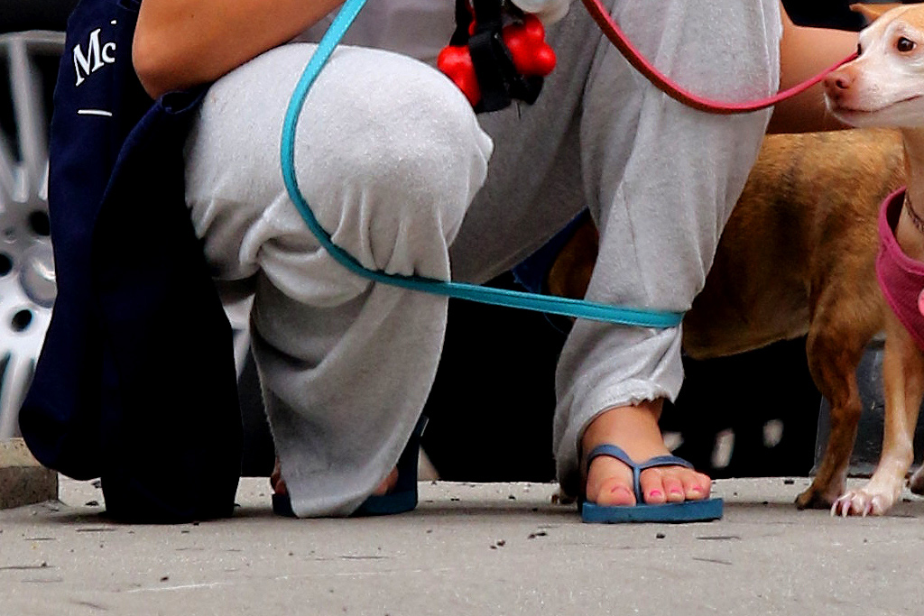 suri cruise, style, sweatpants, t-shirt, sandals, thong sandals, mask, dog, mom, katie holmes
