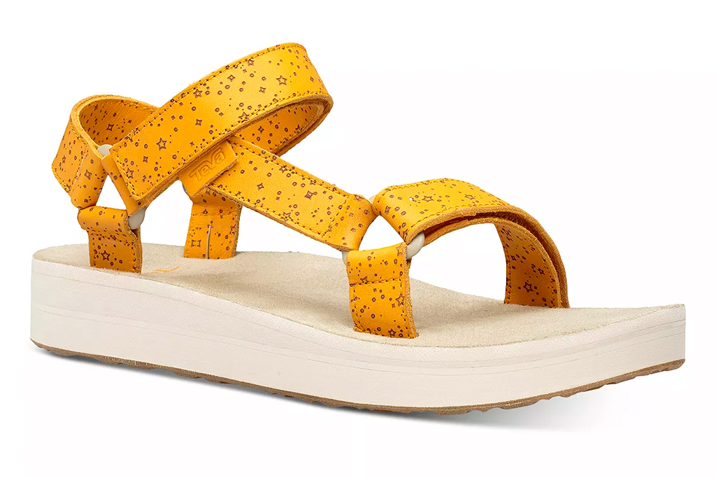 teva, sandals, yellow, white, flatform