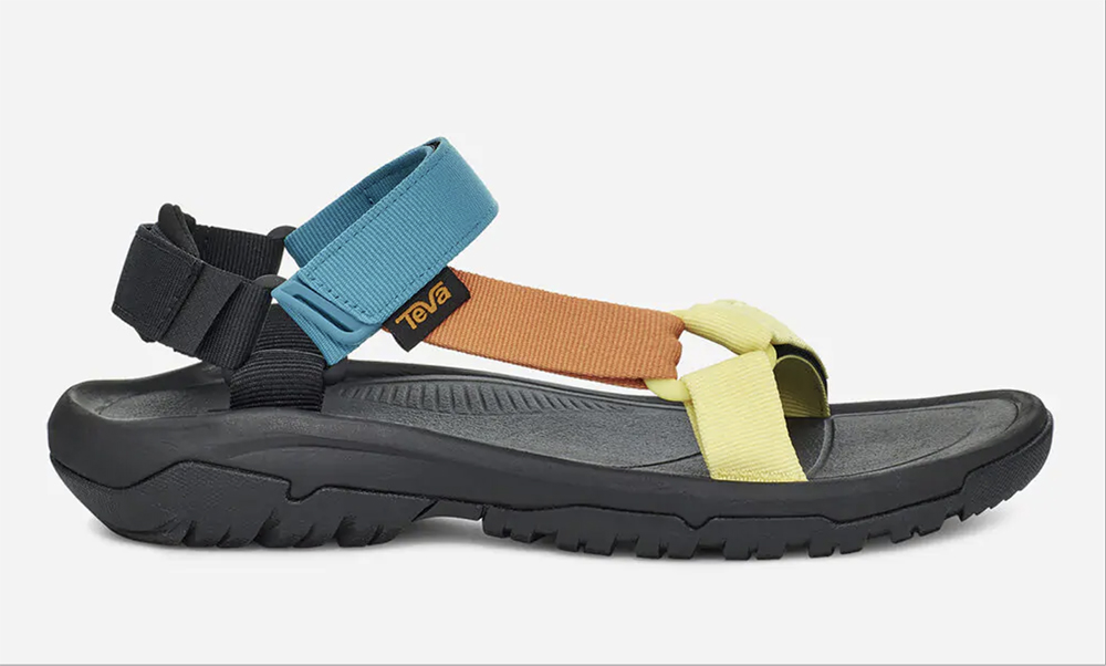 teva, sandals, blue, yellow