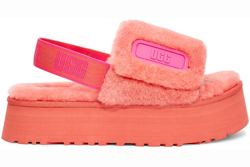 ugg summer collection 2020, ugg disco slide, pink fuzzy slipper